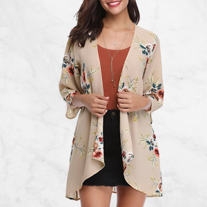 Printed Quarter Sleeves Casual Cardigan - Khaki