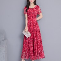 Round Neck Chiffon Elegant Party Wear Printed Floral Dress - Red