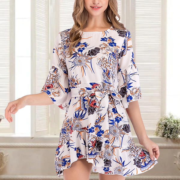 Printed Ruffled Hem Mini Dress - White