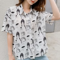 Sketch Prints Summer Wear Half Sleeved Shirt