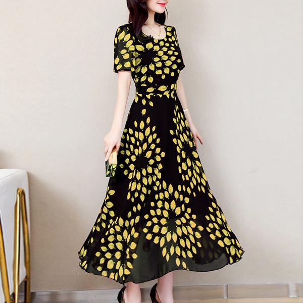 Chiffon Summer Special Round Neck Maxi Dress - Yellow