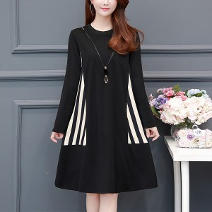 Round Neck Striped Contrast Mini A-Line Dress