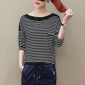 Stripes Pattern Long Sleeves Round Neckline T-Shirts - Black