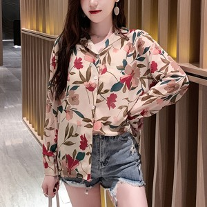 Flower Prints Shirt Collar Summer Shirt - Multicolor
