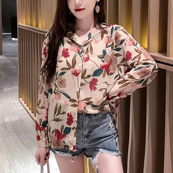 Flower Prints Shirt Collar Summer Shirt - Multicolor