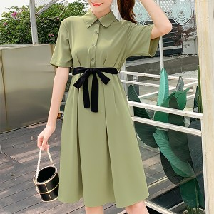 Shirt Collar Waist Band Solid Color Midi Dress