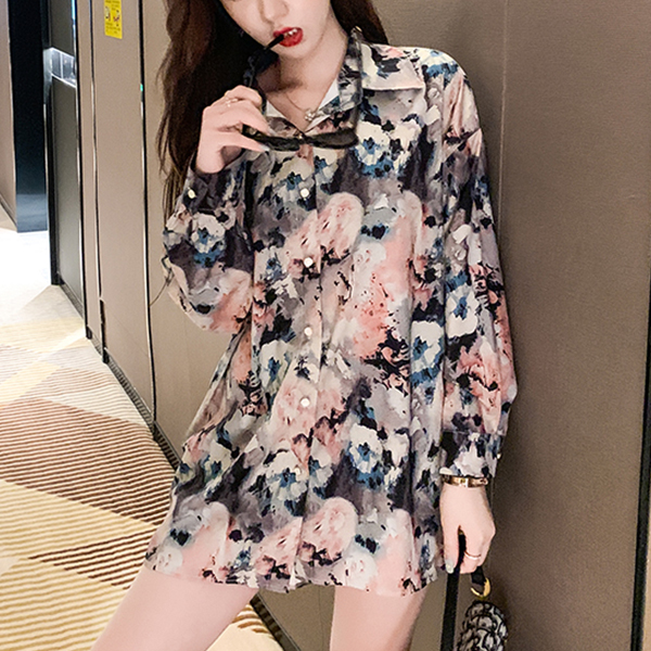 Printed Colorful Beach Wear Loose Shirt - Multicolor