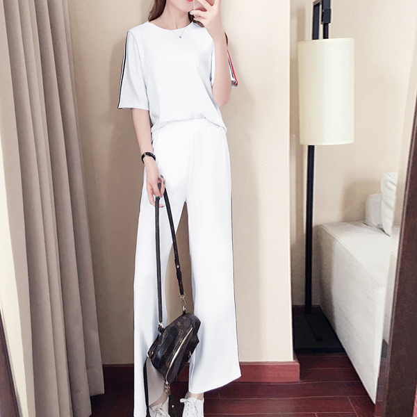 Bell Bottom Two Pieces Summer Casual Suit - White