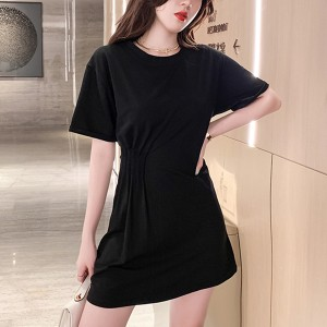 Ruffled Waist Round Neck Summer T-Shirt - Black