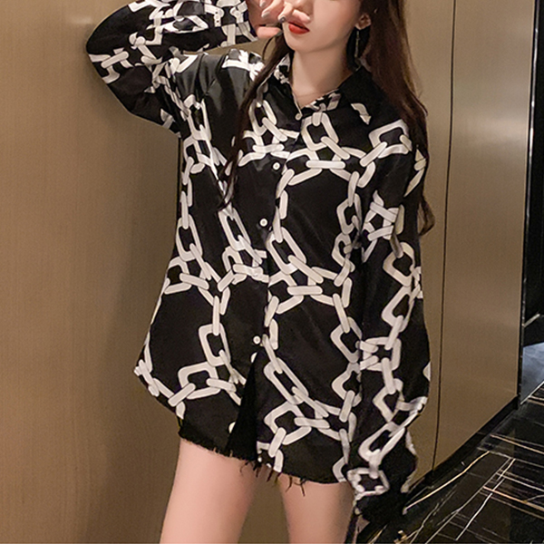 Chain Printed Fancy Loose Summer Shirt - Black