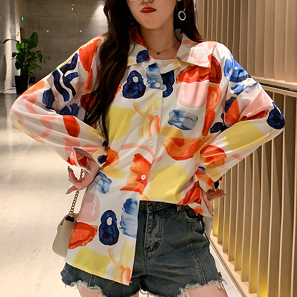 Colorful Prints Beach Wear Loose Shirt