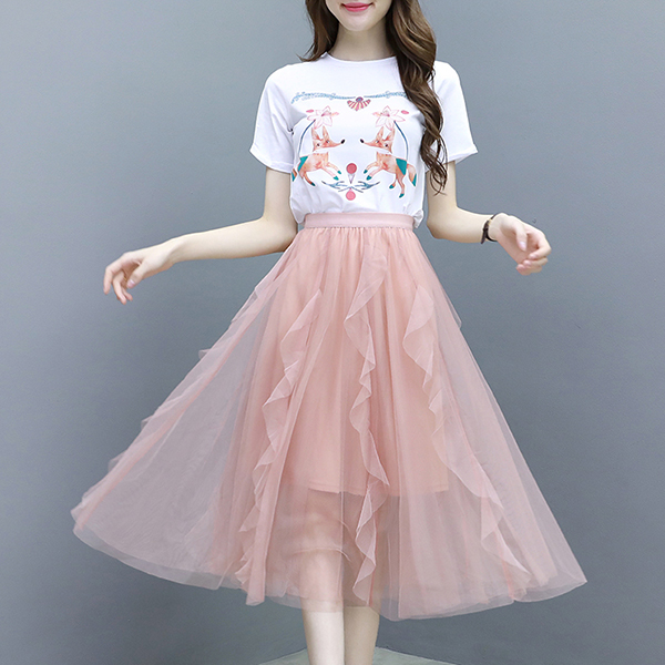 Cartoon Prints Flared Net Skirt Summer Two Pieces Suit