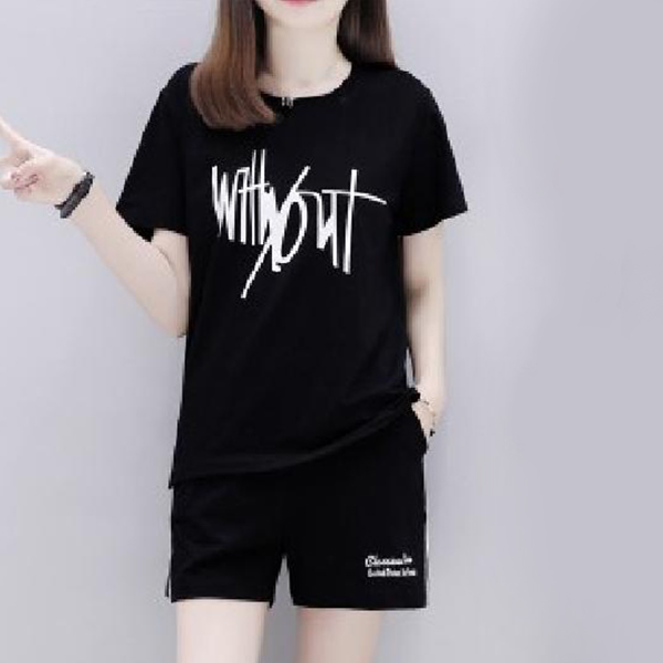 Printed Casual Wear T-Shirt With Pant Shorts - Black
