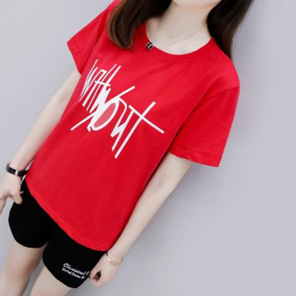 Printed Casual Wear T-Shirt With Pant Shorts - Red