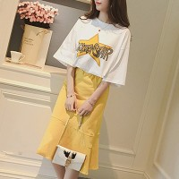 Printed T-Shirt With Plain Flared Skirt - Yellow