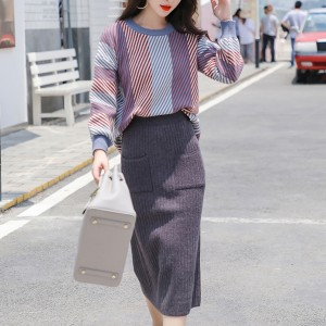 Stripes Pattern Winter Wearing Two Piece Dress - Dark Grey