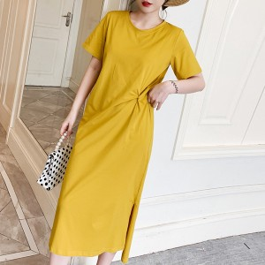 Waist Twist Midi Length Plain Dress - Yellow
