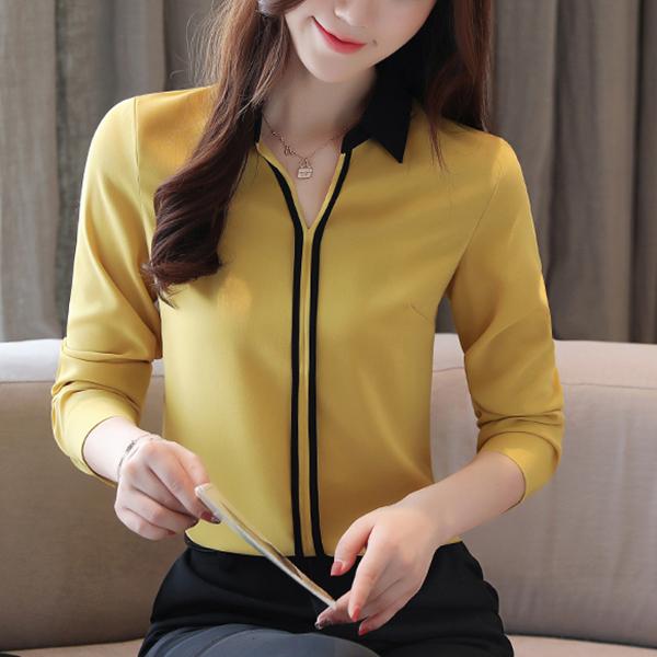 Shirt Collar Plain Thin Fabric Blouse Top - Yellow