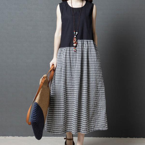 Irregular Contrast Check Prints Long Dress