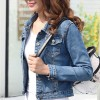 Denim Fade Look Casual Outwear Jacket