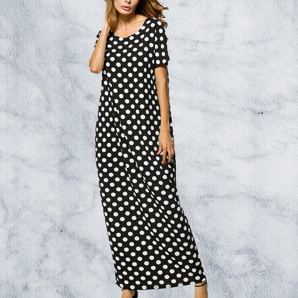 Long Maxi Dot Pockets Short Sleeve Loose Maxi Dress