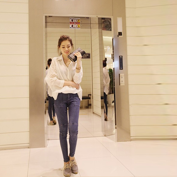 Solid Loose Chiffon Bat Sleeves Blouse Shirt - White