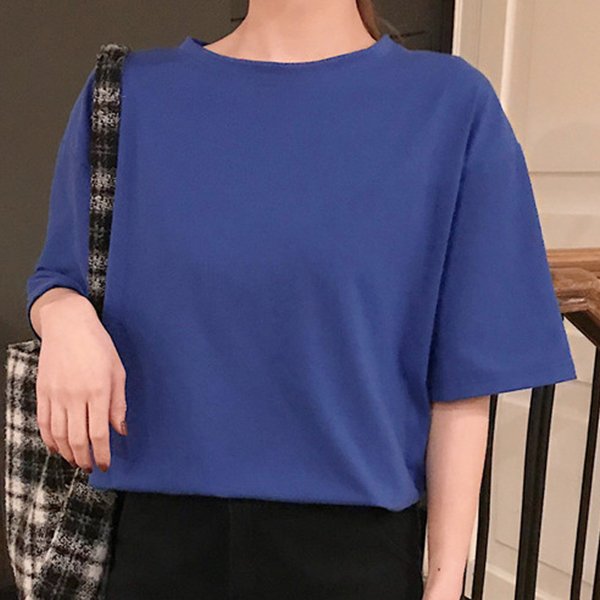 O Neck Loose Casual Wear T-Shirt - Blue