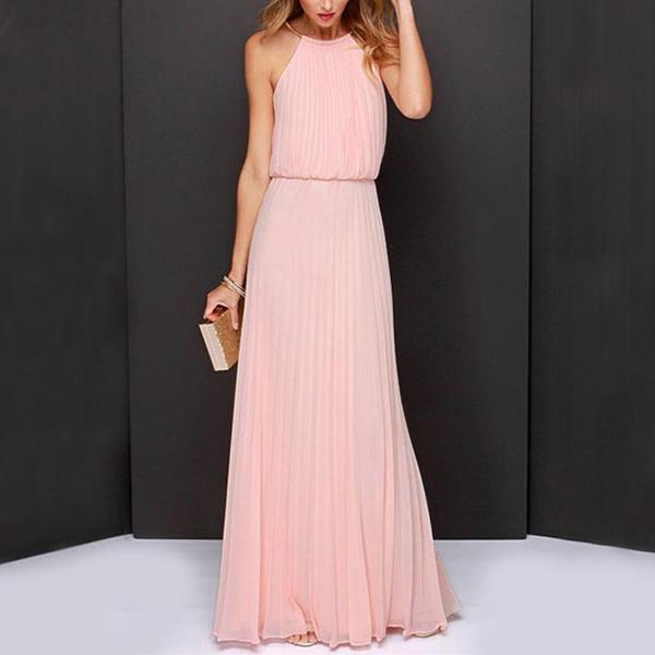 Halter Neck Pleated Waist Elastic Maxi Dress - Pink