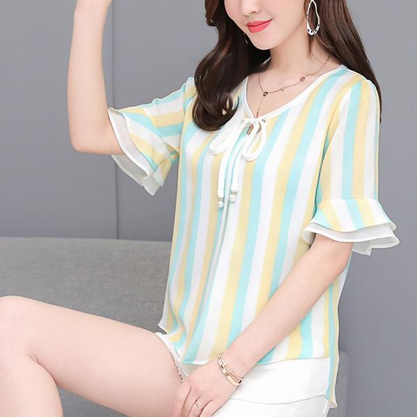 Beach Wear Summer Thin Fabric Cool Blouse Shirt - Green