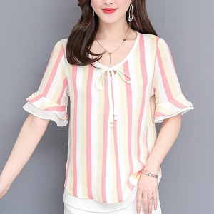 Beach Wear Summer Thin Fabric Cool Blouse Shirt - Red