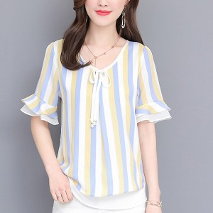 Beach Wear Summer Thin Fabric Cool Blouse Shirt - Blue