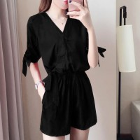 Wrapped V Neck Short Length Plain Romper Dress - Black