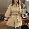 Belt Adjustment Long Sleeves Female Tops - Khaki