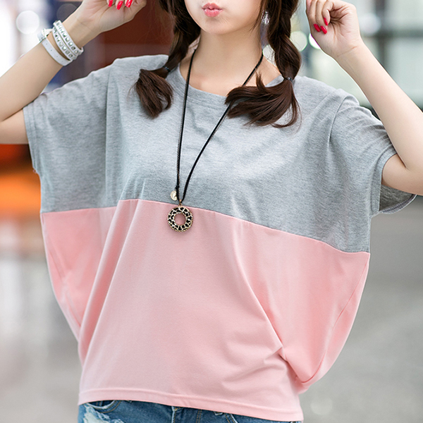 Bat Style Loose Contrast Round Neck T-Shirt - Pink