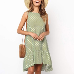 Flared Hem Polka Dots Casual Mini Dress - Green