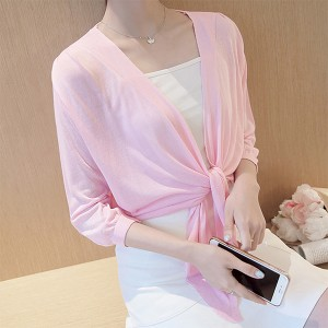 Knotted Waist Shawl Style Sun Protection - Pink