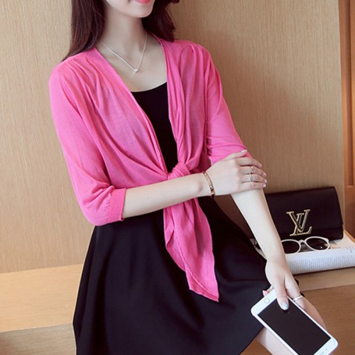 Knotted Waist Shawl Style Sun Protection - Hot Pink