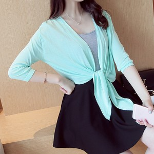 Knotted Waist Shawl Style Sun Protection - Green