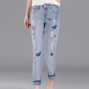 Shredded Butterfly Embroidered Narrow Bottom Jeans