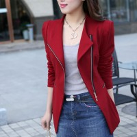 Zipper Suit Neck Plain Formal Cardigan Jacket - Red