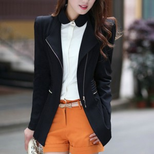 Zipper Suit Neck Plain Formal Cardigan Jacket - Black