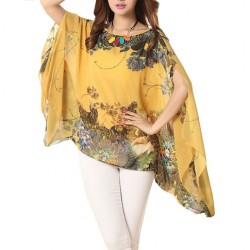Women's T-shirt Shopping Chiffon Large Size Yellow Party Dress