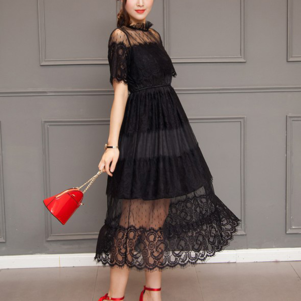 Frilled Stand Neck Lace Party Wear Midi Dress - Black
