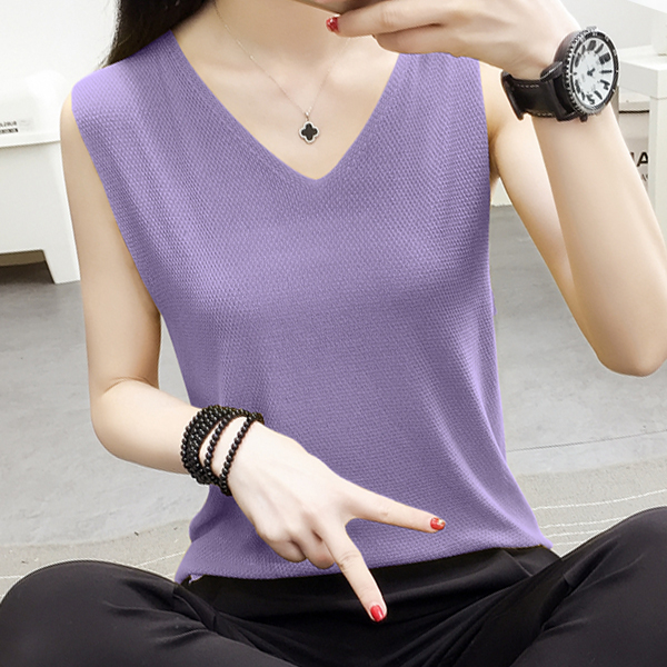 Ribbed V Neck Backless Summer Blouse Top - Purple