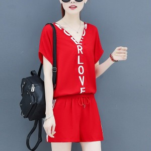 Sports Printed Loose Casual Two Piece Suit - Red