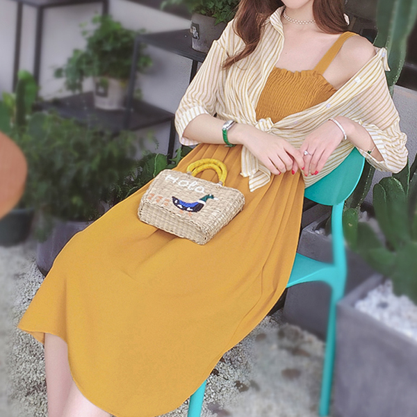 Elastic Bust Strap Shoulder With Striped Outwear - Yellow