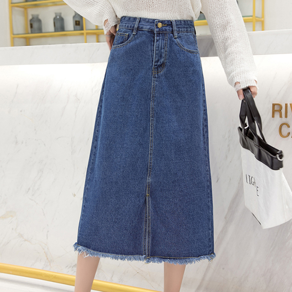 Shredded Hem Denim Duo Pocket Skirt - Dark Blue