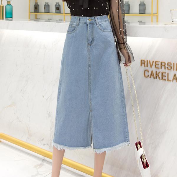 Shredded Hem Denim Duo Pocket Skirt - Blue