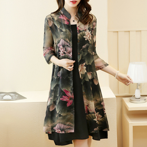 Stand Neck Button Up Floral Outwear Cardigan