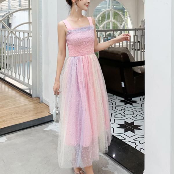 Unicorn Colorful Net Skirt Party Midi Dress - Multicolor